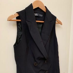 Zara double breasted box pleated vest